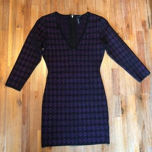 Marciano Mini Dress Black & Purple Houndstooth